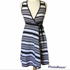 Indigenous Striped Sleeveless Casual Wrap Dress